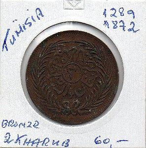 Moeda da Tunísia - 1872 - 2 Kharub