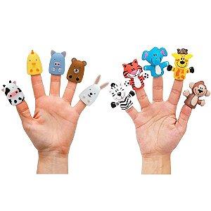 Dedoches de Animais Buba Dedoches de Vinil Kit 10 peças
