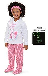 Pijama infantil Dedekasoft poá meias que brilha no escuro