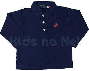 Camisa infantil Empório Baby polo manga longa azul marinho