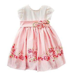 Vestido de festa infantil listras rosas