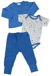 Kit bebê menino Baby Fashion 3 peças dino Kit bebê 3