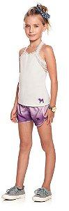 Conjunto infantil feminino Charpey regata offwhite + shorts