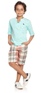 Conjunto infantil masculino Charpey bata +shorts xadrez