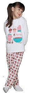Pijama infantil CaraCriança longo cupcake com repelente