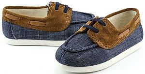 Sapato infantil docksider chambray