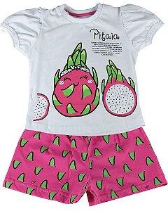 Pijama infantil feminino Cara de Criança curto pitaia