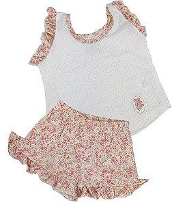 Pijama infantil feminino Cara de Criança jardim baby doll