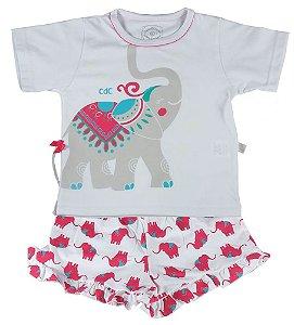 Pijama infantil feminino Cara de Criança elefante -