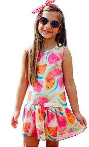Vestido infantil Luluzinha color sublimado com babadotule