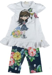 Conjunto infantil Luluzinha blusinha borboleta capri floral