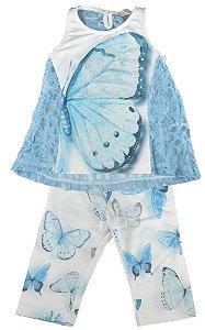 Conjunto infantil Luluzinha bata renda + corsário borboleta