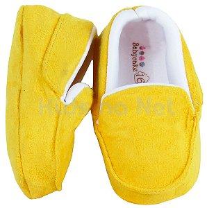 Sapatinho De Bebê Macio Mocassim Amarelo - Handmade