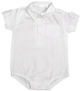 Body Bebê Empório Baby maquinetado branco  com regulagem