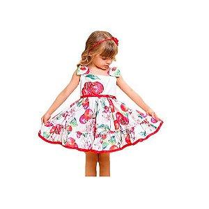 Vestido infantil  Luluzinha flores e cereja