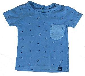 Camiseta infantil Oliver estampa tubarões malha 100%algodão