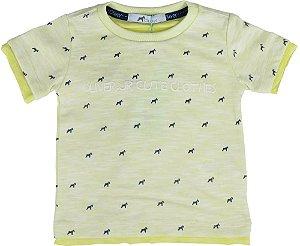 Camiseta infantil Menino Oliver malha flamê amarela -