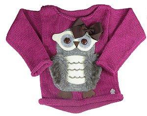 Blusa de Menina Kids na net tricô coruja marrom laço uva