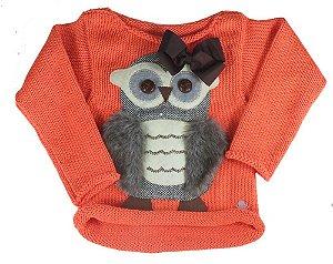 Blusa de Menina Kids na net tricô coruja marrom laço laranja