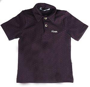 Camiseta polo Bebê Menino Oliver piquet vinho micro poá