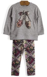 Conjunto infantil Up Baby casaco fechado com legging cotton