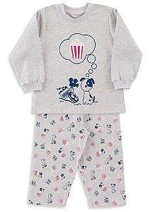 Pijama infantil Menino Dedeka moletinho flanelado dog cinema
