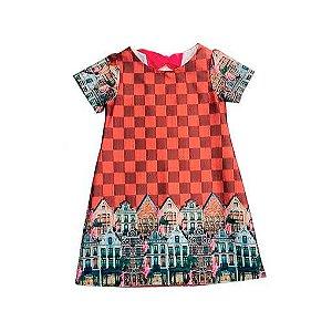 Vestido infantil estampa exclusiva xadrez lv - guapachic