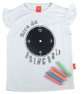 Blusa infantil Jokenpô viscose hora de brincar com kit giz