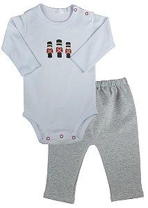 Conjunto bebê body soldadinho de chumbo com calça flanelada - empório baby