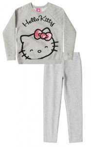 Conjunto infantil Up Baby moletom flanelado hello kitty