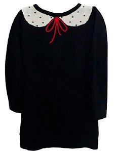Vestido infantil Menina Que te encante de tricô preto -