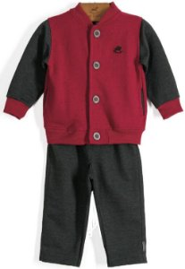 Conjunto infantil Up Baby casaco + calça flanelada chumbo
