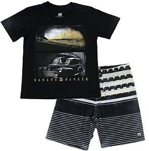 Conjunto infantil Banana Danger camiseta + bermuda freedom