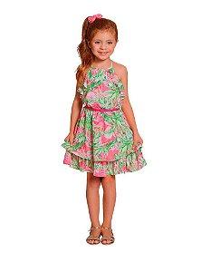 Vestido infantil Menina Ninali crepe estampado frutas -