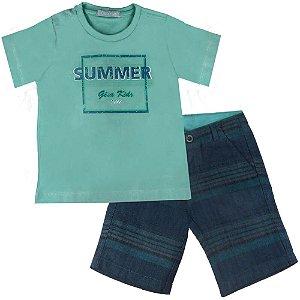 Conjunto infantil Gira Baby summer camiseta + bermuda sarja