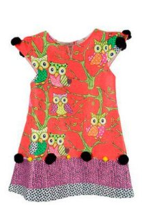 Vestido infantil Guapachic festa Laranja Coruja