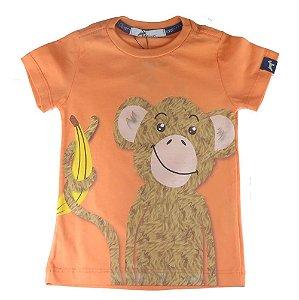 Camiseta infantil masculino Oliver algodão Laranja Macaco