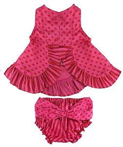 Conjunto Bebê Póssum algodão bata pink poá + tapa frauda