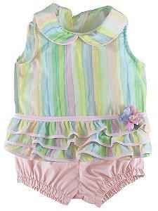 Conjunto Bebê Póssum algodão bata arco íris com tapa frauda