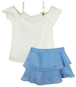Conjunto infantil Ninali blusa +  alça e saia Viscose azul