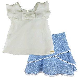 Conjunto infantil Ninali blusa laço e saia viscose azul