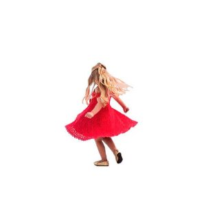 Vestido infantil renda vermelha flores ninali