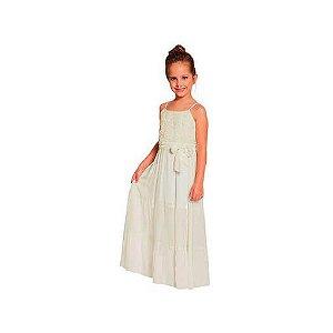Vestido longo infantil off white viscose com renda florida Ninali