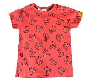Camiseta infantil masculino Oliver algodão macaquinhos coral