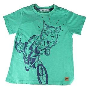 Camiseta infantil masculino Oliver algodão raposa bike verde