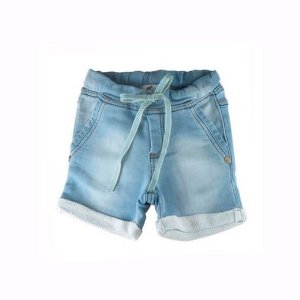 Bermuda Oliver moletom jeans claro infantil com cadarço cos