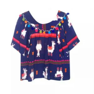 Blusa infantil Dass pompom lhama roxo azulado viscose