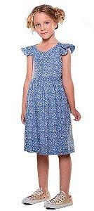 Vestido infantil Menina Que te encante azul floral camafeu -