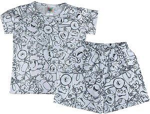 Pijama Infantil Win Design pintar Monstrinhos + 5 canetinhas