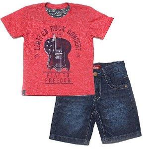 Conjunto infantil Banana Danger Guitar camiseta + Bermuda